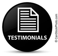 Testimonials (page icon) black round button