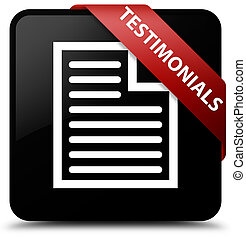 Testimonials (page icon) black square button red ribbon in corner