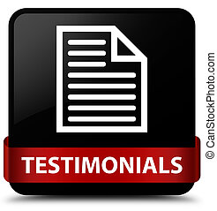 Testimonials (page icon) black square button red ribbon in middle