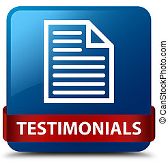 Testimonials (page icon) blue square button red ribbon in middle