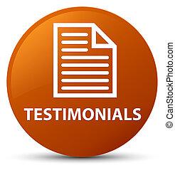 Testimonials (page icon) brown round button