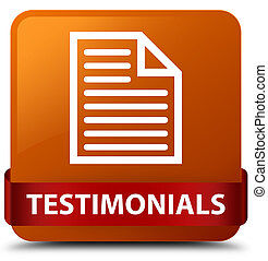 Testimonials (page icon) brown square button red ribbon in middle