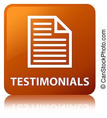 Testimonials (page icon) brown square button