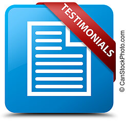 Testimonials (page icon) cyan blue square button red ribbon in corner