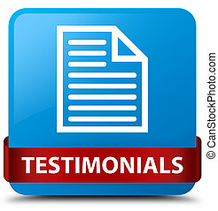 Testimonials (page icon) cyan blue square button red ribbon in middle