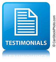 Testimonials (page icon) cyan blue square button
