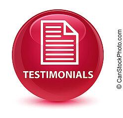 Testimonials (page icon) glassy pink round button