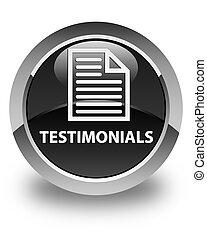 Testimonials (page icon) glossy black round button