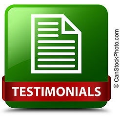 Testimonials (page icon) green square button red ribbon in middle