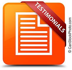 Testimonials (page icon) orange square button red ribbon in corner