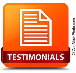 Testimonials (page icon) orange square button red ribbon in middle