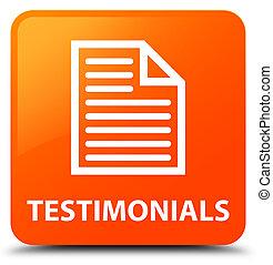 Testimonials (page icon) orange square button