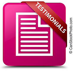 Testimonials (page icon) pink square button red ribbon in corner