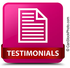 Testimonials (page icon) pink square button red ribbon in middle