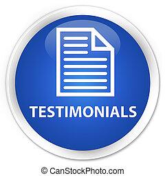 Testimonials (page icon) premium blue round button