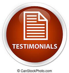 Testimonials (page icon) premium brown round button