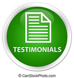 Testimonials (page icon) premium green round button