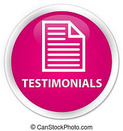 Testimonials (page icon) premium pink round button