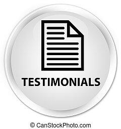 Testimonials (page icon) premium white round button