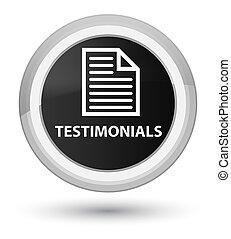 Testimonials (page icon) prime black round button