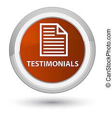 Testimonials (page icon) prime brown round button