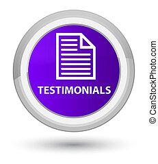 Testimonials (page icon) prime purple round button