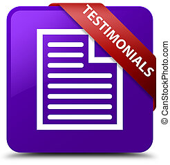 Testimonials (page icon) purple square button red ribbon in corner