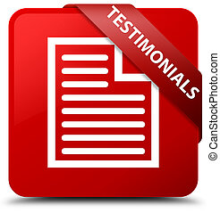 Testimonials (page icon) red square button red ribbon in corner