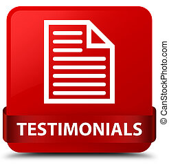 Testimonials (page icon) red square button red ribbon in middle