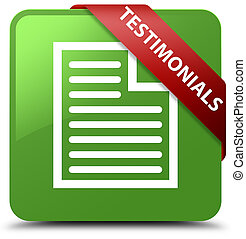 Testimonials (page icon) soft green square button red ribbon in corner
