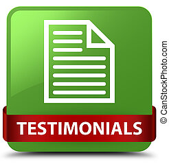 Testimonials (page icon) soft green square button red ribbon in middle