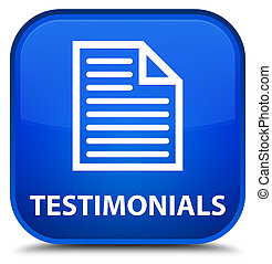 Testimonials (page icon) special blue square button
