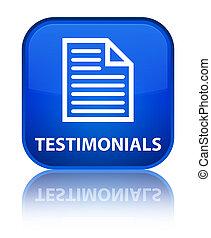 Testimonials (page icon) special blue square button