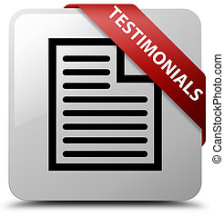 Testimonials (page icon) white square button red ribbon in corner