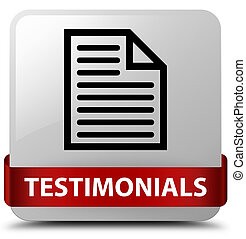 Testimonials (page icon) white square button red ribbon in middle