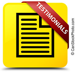 Testimonials (page icon) yellow square button red ribbon in corner