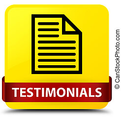 Testimonials (page icon) yellow square button red ribbon in middle