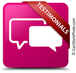 Testimonials pink square button red ribbon in corner
