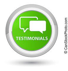 Testimonials prime soft green round button