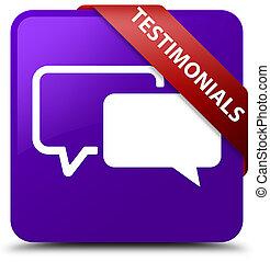 Testimonials purple square button red ribbon in corner