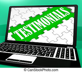 Testimonials Puzzle On Notebook Shows Online Credentials