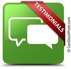 Testimonials soft green square button red ribbon in corner
