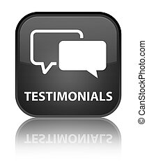 Testimonials special black square button
