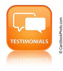 Testimonials special orange square button