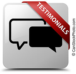Testimonials white square button red ribbon in corner
