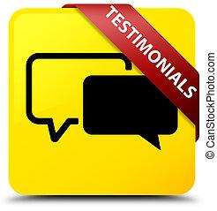 Testimonials yellow square button red ribbon in corner