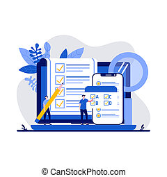 Testing concept with character. People answering quiz checklist and success result abstract vector illustration. Online exam, questionnaire form, online education, survey metaphor
