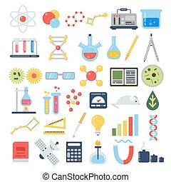 testing., ensemble, scientifique, science, chimique, équipement, vecteur, icône