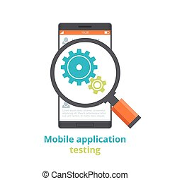 Testing of mobile applications. flat illustration isolated on white background.
