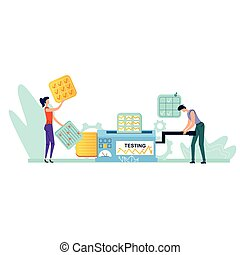 Testing process business concept vector